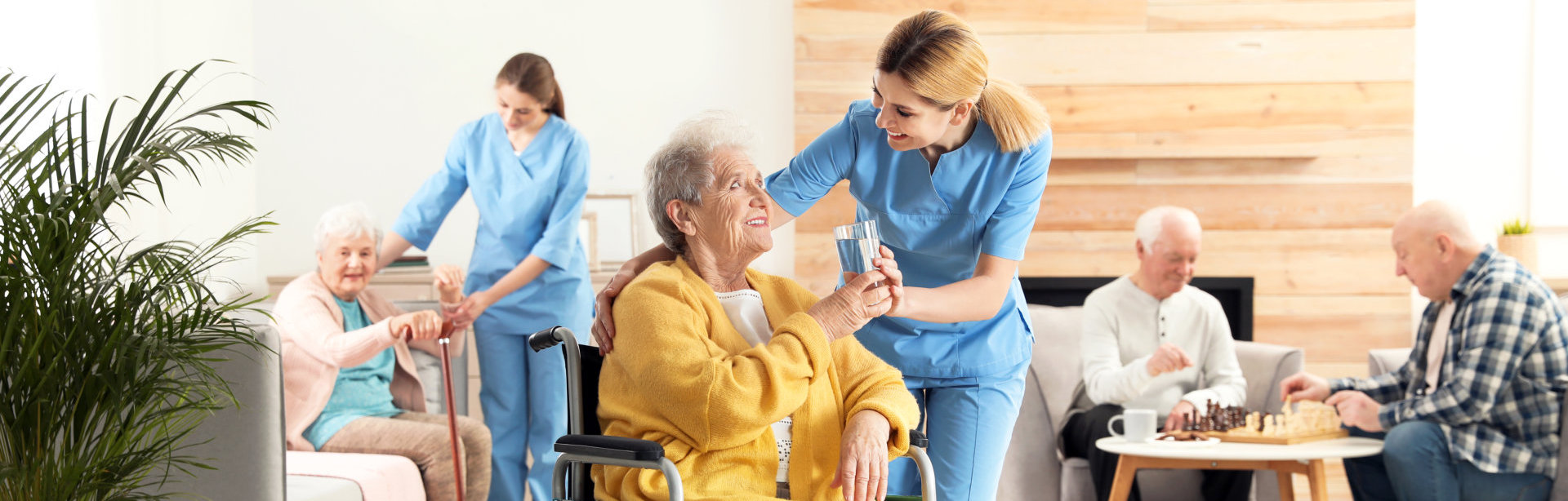 lady caregivers assisting the elderly people